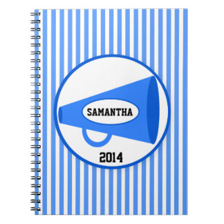 Personalized Blue Megaphone And Blue Stripes Spiral Notebook