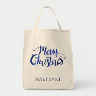 Personalized Blue Merry Christmas Holiday Tote Bag