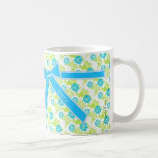 Personalized Blue Morning Glory Garden w/ Bow Coffee Mug