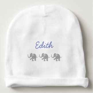Personalized Blue Name with Grey Baby Elephants Baby Beanie