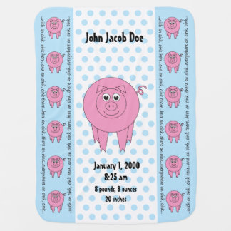 Personalized Blue Pig Blanket (two-sided)