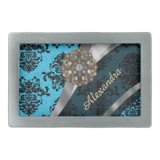 Personalized blue pretty girly damask pattern belt buckles