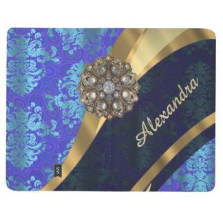 Personalized blue pretty girly damask pattern journal