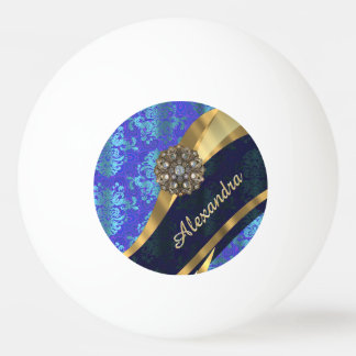 Personalized blue pretty girly damask pattern ping pong ball