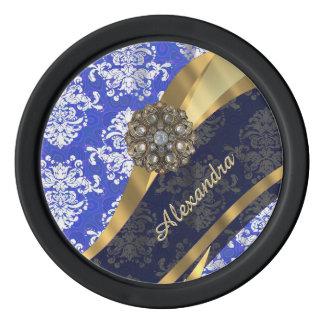 Personalized blue pretty girly damask pattern poker chips