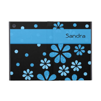 Personalized Blue Retro Flowers On Black Cover For iPad Mini