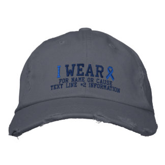Personalized Blue Ribbon Awareness Embroidery Embroidered Hat