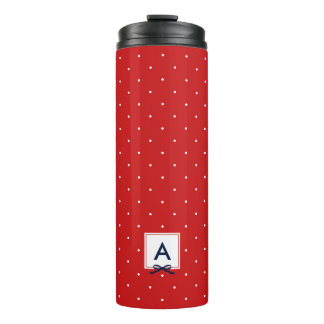 Personalized Blue Ribbon Red Polka Dot Monogram Thermal Tumbler