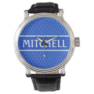 Personalized Blue SM Dragon Scale Wristwatch