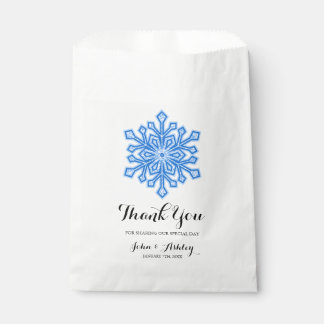 Personalized Blue Snowflake Winter Wedding Favour Bags