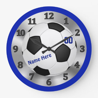 Personalized Blue Soccer Clock, NAME and NUMBER Wall Clocks