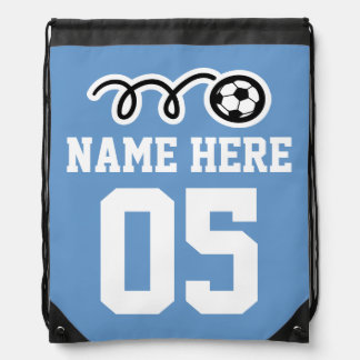 Personalized blue soccer drawstring backpack bag