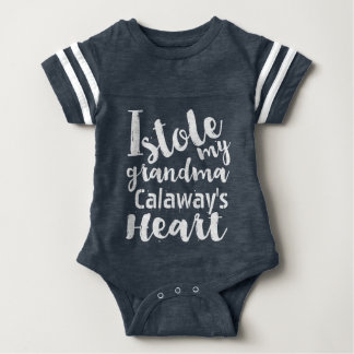 Personalized Blue Sports Stole My Grandmas Heart Baby Bodysuit