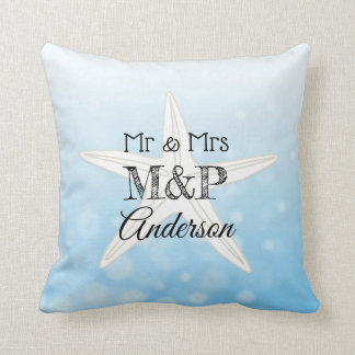 Personalized Blue Starfish Beach House Pillow