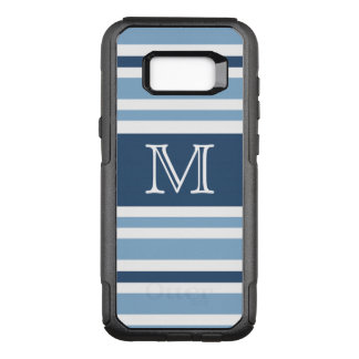 Personalized Blue Stripes Monogram OtterBox Commuter Samsung Galaxy S8+ Case