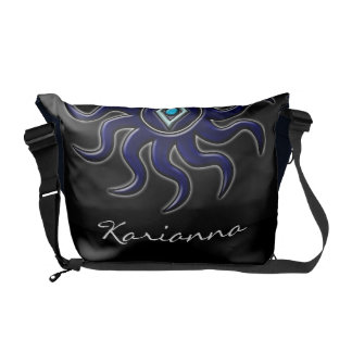 Personalized Blue Sun Rickshaw Messenger Bag