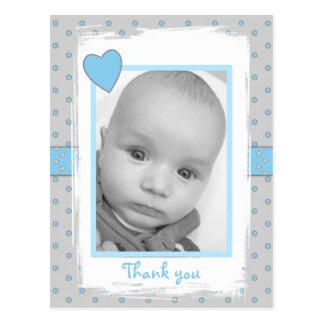 Personalized blue Thank you Baby Boy Photo Postcard