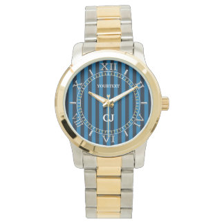 Personalized Blue Vertical Stripes Dial Wrist Watch