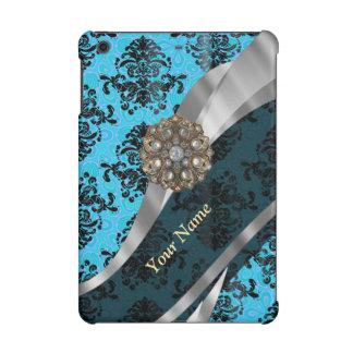 Personalized blue vintage damask pattern