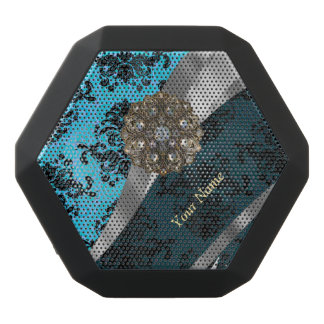 Personalized blue vintage damask pattern black bluetooth speaker