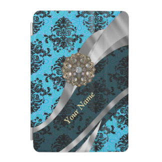Personalized blue vintage damask pattern iPad mini cover