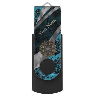 Personalized blue vintage damask pattern USB flash drive