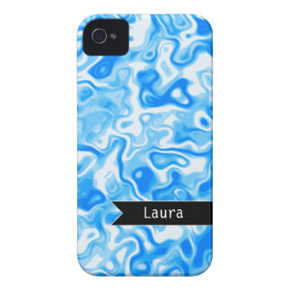 Personalized Blue Water texture - black name tag Case-Mate iPhone 4 Case