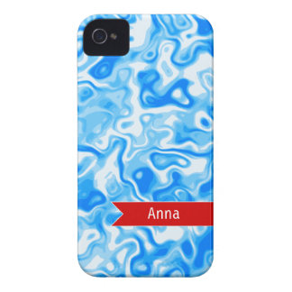 Personalized Blue Water texture - red name tag Case-Mate iPhone 4 Case