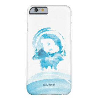 Personalized Blue Watercolor Bear and Mountain Barely There iPhone 6 Case