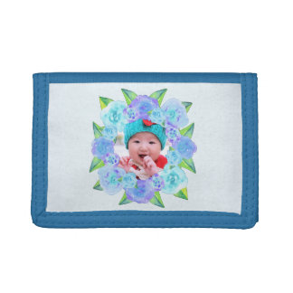 Personalized Blue Watercolor Floral Wreath Tri-fold Wallet