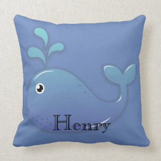 Personalized Blue Whale in Blue Sea Pillow