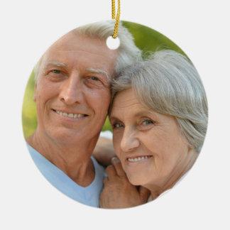 Personalized Blue White Diamond Photo Anniversary Christmas Ornament