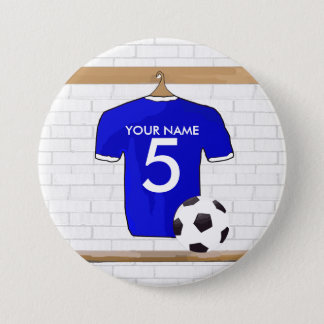 Personalized Blue White Football Soccer Jersey 7.5 Cm Round Badge