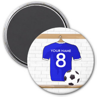 Personalized Blue White Football Soccer Jersey 7.5 Cm Round Magnet