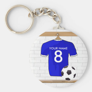 Personalized Blue White Football Soccer Jersey Basic Round Button Key Ring