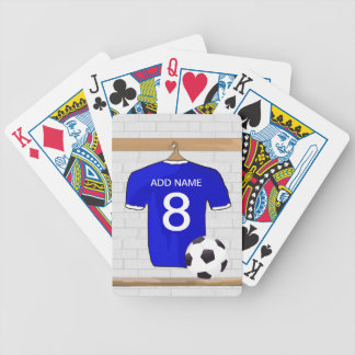 Personalized Blue White Football Soccer Jersey Bicycle Playing Cards