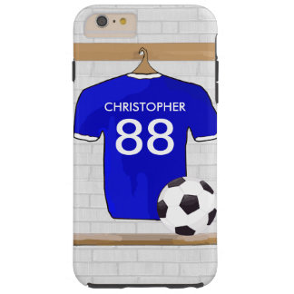 Personalized Blue White Football Soccer Jersey Tough iPhone 6 Plus Case