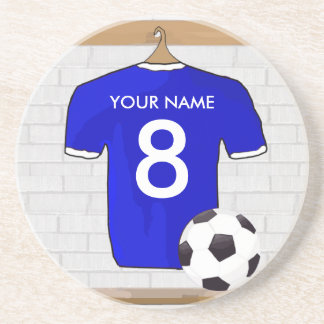 Personalized Blue White Football Soccer Jersey Coaster