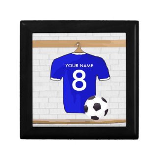 Personalized Blue White Football Soccer Jersey Gift Box