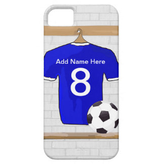 Personalized Blue White Football Soccer Jersey iPhone 5 Cover