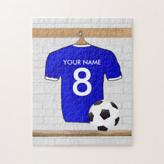 Personalized Blue White Football Soccer Jersey Jigsaw Puzzle