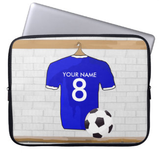 Personalized Blue White Football Soccer Jersey Laptop Sleeve
