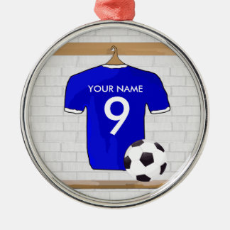 Personalized Blue White Football Soccer Jersey Silver-Colored Round Decoration