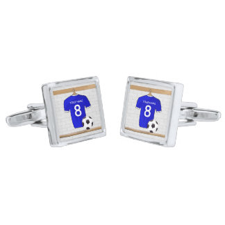 Personalized Blue White Football Soccer Jersey Silver Finish Cufflinks