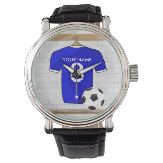 Personalized Blue White Football Soccer Jersey Watch