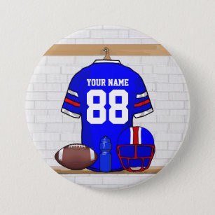 Personalized Blue White Red Football Jersey 7.5 Cm Round Badge 1999d412d