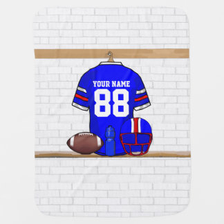 Personalized Blue White Red Football Jersey Baby Blanket