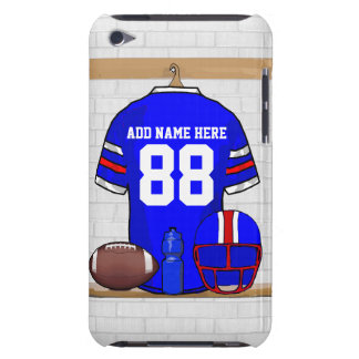 Personalized Blue White Red Football Jersey Barely There iPod Case