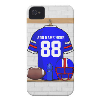 Personalized Blue White Red Football Jersey iPhone 4 Case
