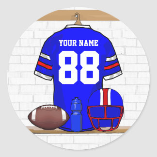 Personalized Blue White Red Football Jersey Round Sticker